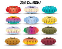 2015 Calendar-elips. 2015 colorful calendar in us style, start on sunday, each month with individual table vector illustration