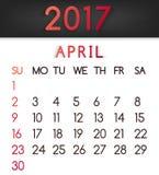 Calendar em abril de 2017 o vetor em um estilo liso em tons vermelhos Fotografia de Stock Royalty Free