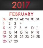 Calendar em fevereiro de 2017 o vetor em um estilo liso em tons vermelhos ilustração stock