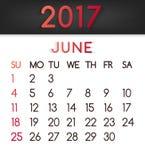 Calendar em junho de 2017 o vetor em um estilo liso em tons vermelhos ilustração royalty free