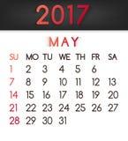 Calendar em maio de 2017 o vetor em um estilo liso em tons vermelhos ilustração do vetor