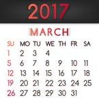Calendar em março de 2017 o vetor em um estilo liso em tons vermelhos ilustração do vetor