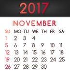 Calendar em novembro de 2017 o vetor em um estilo liso em tons vermelhos ilustração royalty free