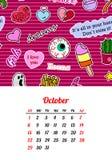Calendar 2017 em remendos, nos pinos e em etiquetas cômicos da forma do estilo dos desenhos animados 80s-90s ilustração stock