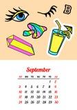 Calendar 2017 em remendos, nos pinos e em etiquetas cômicos da forma do estilo dos desenhos animados 80s-90s PNF Art Vetora Illus ilustração royalty free