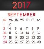Calendar em setembro de 2017 o vetor em um estilo liso em tons vermelhos ilustração do vetor