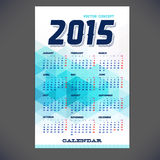 Calendar for 2015 with emplate design,. Brochure, Web sites, page, leaflet, with colorful geometric triangular backgrounds and a calendar grid for your design Stock Photo