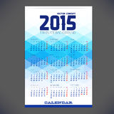 Calendar for 2015 with emplate design,. Brochure, Web sites, page, leaflet, with colorful geometric triangular backgrounds and a calendar grid for your design Royalty Free Stock Photos