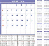 Calendar 2014. Calendar for 2014 in English stock illustration
