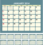 Calendar 2014. Calendar for 2014 in English vector illustration