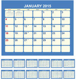 Calendar 2015. Calendar for 2015 in English Stock Illustration