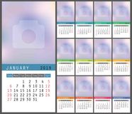 2019 calendar. English calender. Сolorful vector template. Week. Starts on Sunday. Color business planning. New year motley planner. Multicolor design Royalty Free Stock Photos
