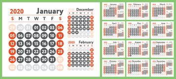 2020 calendar. English calender. Color vector design template. Week starts on Sunday. Business planning. New year planner.  vector illustration
