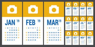 Calendar 2019. English calender template. Vector grid. Office bu. Siness planning. Simple design. Yellow and blue colors royalty free illustration