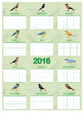 2016 calendar on english Stock Image