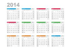 Calendar 2014. English. Divided by seasons Stock Photos