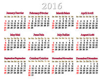 Calendar for 2016 in English and French Royalty Free Stock Image