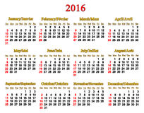 Calendar for 2016 in English and French on white Stock Photography