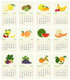 2016 Calendar. English calendar for 2016 with fruit of the month Stock Photos