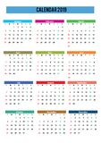 2019 calendar english language royalty free stock image