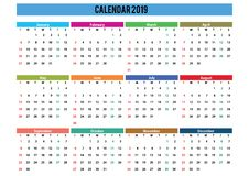 2019 calendar landscape english language royalty free stock photography