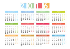 Calendar for 2016 in English. Calendar grid for 2016 in English Stock Photography