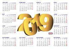 2019 calendar in english horizontal UK Royalty Free Stock Image