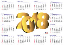 2018 calendar english horizontal USA Stock Photography
