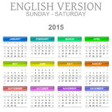 2015 Calendar English Language Version Sun - Sat. Colorful Sunday to Saturday 2015 Calendar English Language Version Illustration Stock Photography