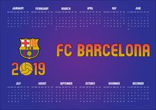 2019 Barcelona FC Calendar in English royalty free stock image