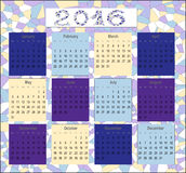 Calendar for 2016 in English,  mosaic. Calendar for 2016 in English, a beautiful mosaic Stock Image