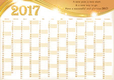 Calendar 2017 - English printable Organizer. Planner - contains the Dates highlighted, the days of the month and some space for personal notes. Print colors Stock Photography