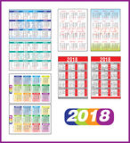 Calendar 2018. In english and russian version Stock Image