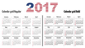 Calendar 2017 English SF normal and bold usa flag colors. Calendar grid for 2017 with USA flag colors on 2017. Sundays first. Regular and bold digits grid. Best Royalty Free Stock Photography