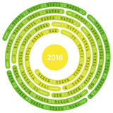 2016 Calendar. 2016 english calendar in the shape of spiral maze on white background Stock Illustration