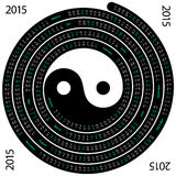 2015 Calendar. English calendar for 2015 on spiral shape and yin yang symbol on white background Vector Illustration
