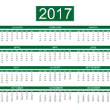 2017 calendar english style simple daek green Royalty Free Stock Photography