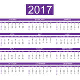 2017 calendar english style simple violet for web. 2017 calendar english style simple violet Stock Photos