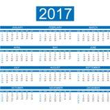 2017 calendar english style simple. For web Stock Photos