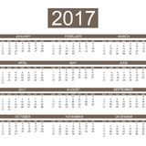 2017 calendar english style simple. For web Royalty Free Stock Photography