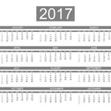2017 calendar english style simple. For web Royalty Free Stock Photo