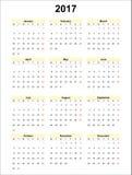 Calendar 2017 Stock Photography