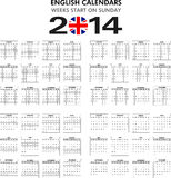 Calendar 2014 English. Royalty Free Stock Photo