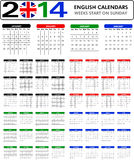 Calendar 2014 English. Royalty Free Stock Photography