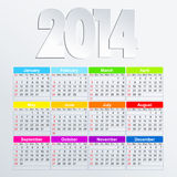 Calendar 2014 in English. Vector Calendar 2014 in English language royalty free illustration