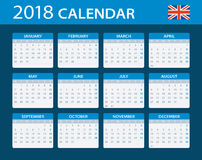 Calendar 2018 - English Version Stock Photo