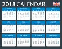 Calendar 2018 - English Version Royalty Free Stock Photography