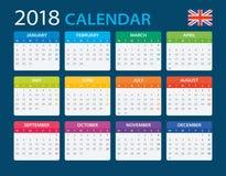 Calendar 2018 - English Version Royalty Free Stock Photo