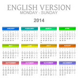 2014 calendar english version monday to sunday Royalty Free Stock Photo