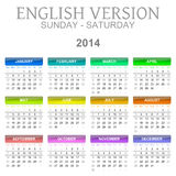 2014 calendar english version sun � sat Royalty Free Stock Image